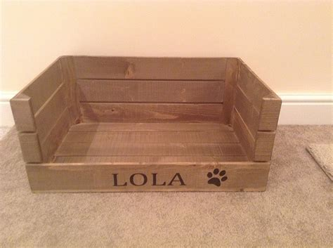 crate dog bed grey wooden crate dog small pet bed personalized dog bed