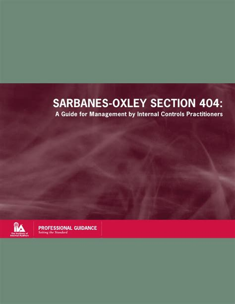 sarbanes oxley act section 404 sox section 404 a guide for management