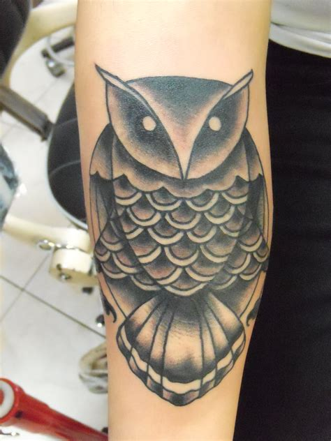 black owl tattoo traditional owl black and grey