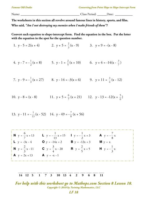 Point Slope Form Worksheet by Slope Intercept Form Worksheets Quotes