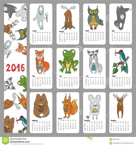 calendar doodle set up calendar 2016 animals woodland doodles stock vector