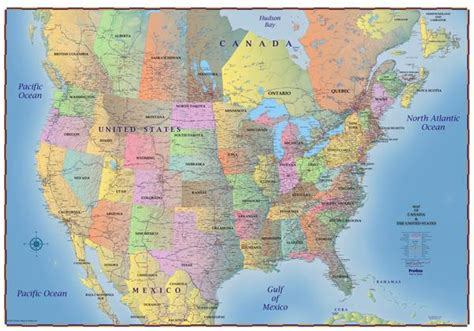 truckers wall map  canada united states  northern