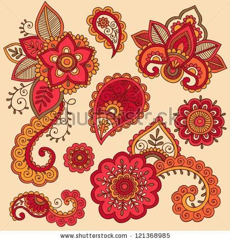 doodle 2 indian price stock vector henna flowers and paisley mehndi