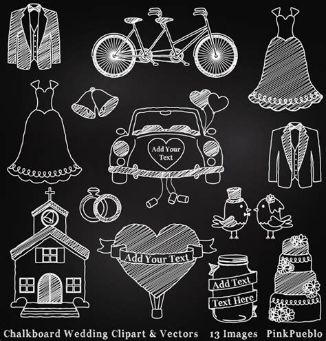 Wedding Vector Font Free by Chalkboard Wedding Clipart Vectors Illustrations On