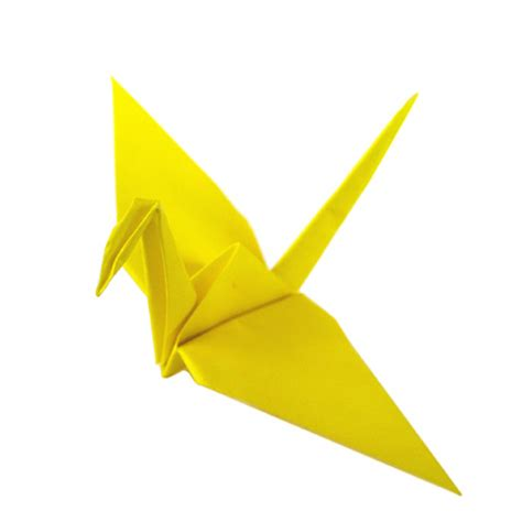 Folded Paper Crane - yellow origami cranes graceincrease custom origami
