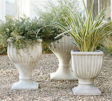 pottery barn planters fluted urn planter pottery barn