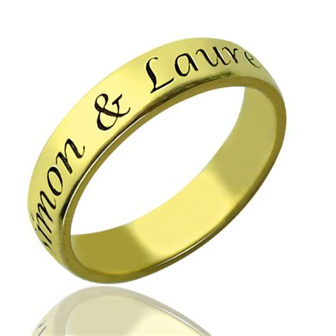 Valentines Day Gift For Him   Promise Name Ring 18k Gold