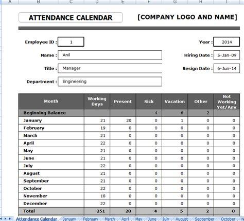 employee attendance sheet format in excel