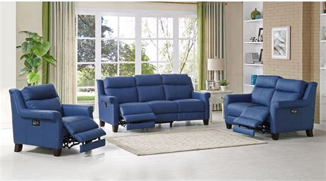 reclining living room furniture sets dolce blue power reclining living room set from amax