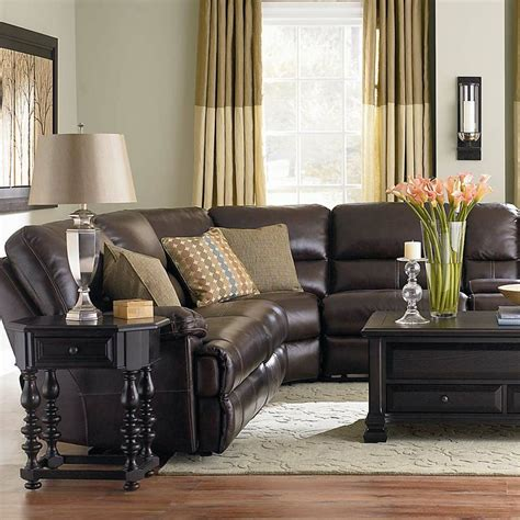 dillon sectional sofa dillon motion leather sectional by bassett furniture