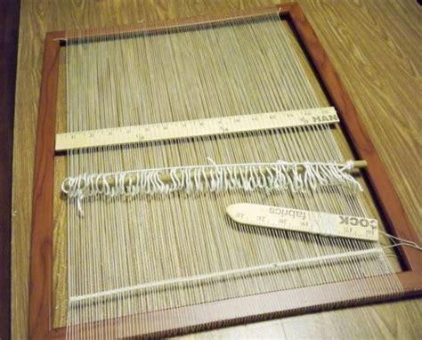 weaving rugs on a loom frame loom with yardstick shuttle shed stick dowel string heddle weaving