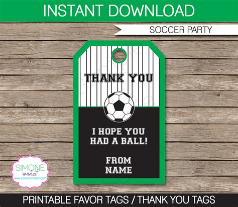 soccer thank you card template soccer favor tags thank you tags birthday