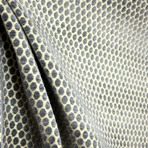 Blue Grey Upholstery Fabric by Bubbles Fog Steel Blue Grey Chenille Polka Dot Upholstery