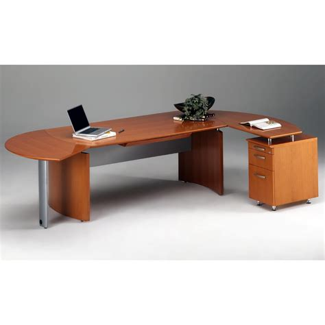 Modern Wood Computer Desk Modern Brown Particle Wood Computer Desk With Metal Legs And Hutch Using Bul Nose Edge