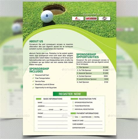 golf brochure templates golf tournament flyer template carisoprodolpharm