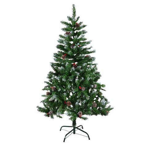 christmas tree with snow and berries 4ft 5ft 6ft 7ft green artificial tree snow berries pine cones ebay