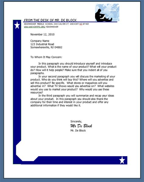 College Business Letter Format Business Letter Format Middle School Sle Business Letter