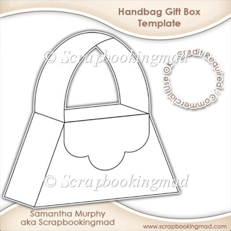 purse templates handbag gift box template cu ok 163 3 50 scrapbookingmad