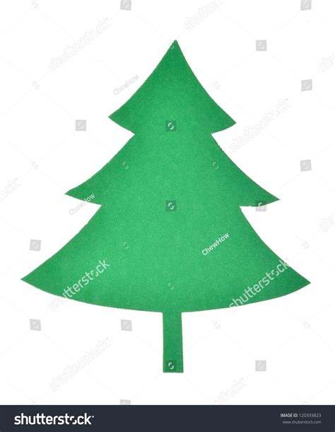 green paper cut out christmas tree stock photo 120393823