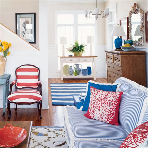 red and blue home decor beach house color ideas coastal living
