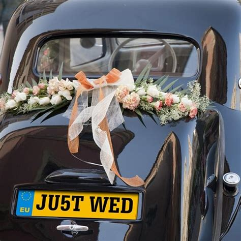 Wedding Car Number Plates Uk by Wedding Car Decorations Just Married Tin Cans Number