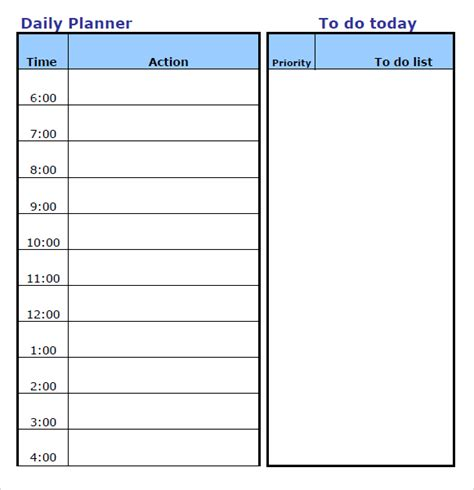 template for daily calendar daily planner template word calendar template 2016