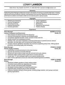 Resume For Store Manager by Store Manager Resume Sle My Resume
