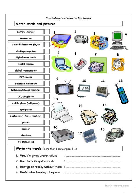 Vocabulary Matching Worksheet by Vocabulary Matching Worksheet Electronics Worksheet