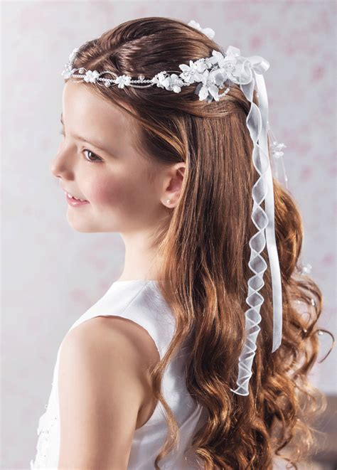down hairstyles for communion communion dresses for girls girls communion tiara