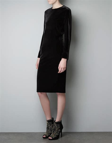 H M Basic Black Dress T3010 1 zara velvet dress in black lyst