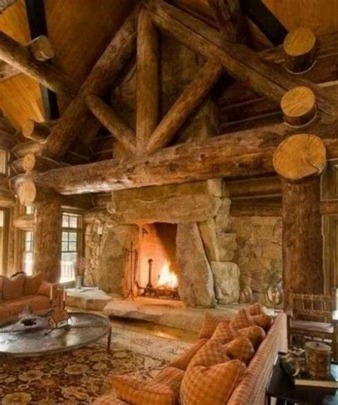 Beautiful Fireplace by Beautiful Log Cabin Living Room With A Gorgeous Fireplace