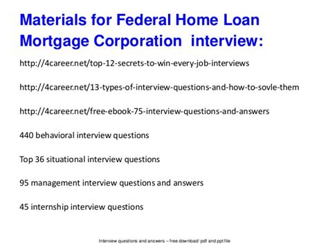 federal home loan mortgage corporation questions