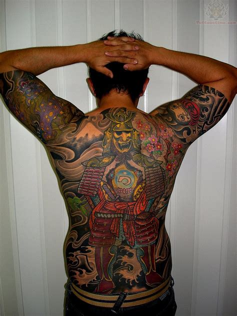 full back tattoos for men samurai back for