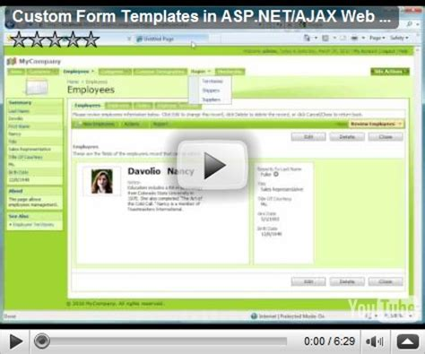 templates for asp net web site code on time custom form templates