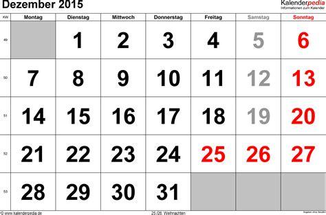 December 2015 Calendar Kalender Dezember 2015 Als Excel Vorlagen