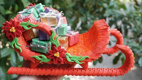 3d origami santa how to make 3d origami santa claus sleigh diy paper
