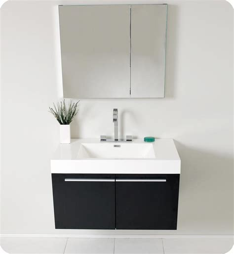 Modern Black Bathroom Vanity 35 5 Fresca Vista Fvn8090bw Black Modern Bathroom Vanity W Medicine Cabinet Bathroom