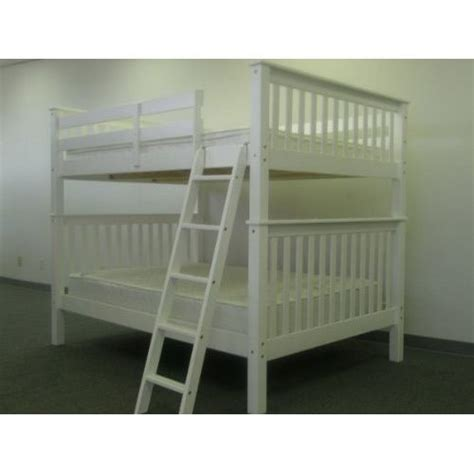white full over full bunk beds solid wood mission style full over full bunk bed in white