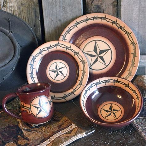 Red Barbwire Star Pottery Dinnerware: Cabin Place
