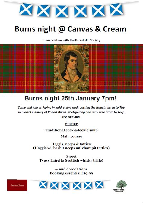 burns supper menu template forest hill society burns fri 25th january