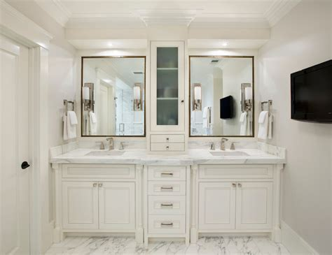 bathroom cabinet with her double vanity with center console traditional bathroom