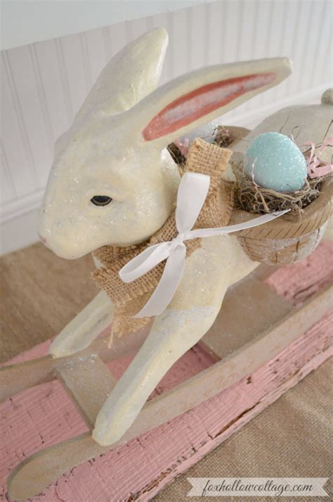 bunny home decor spring at the cottage decorating with vintage easter bunnies fox hollow cottage