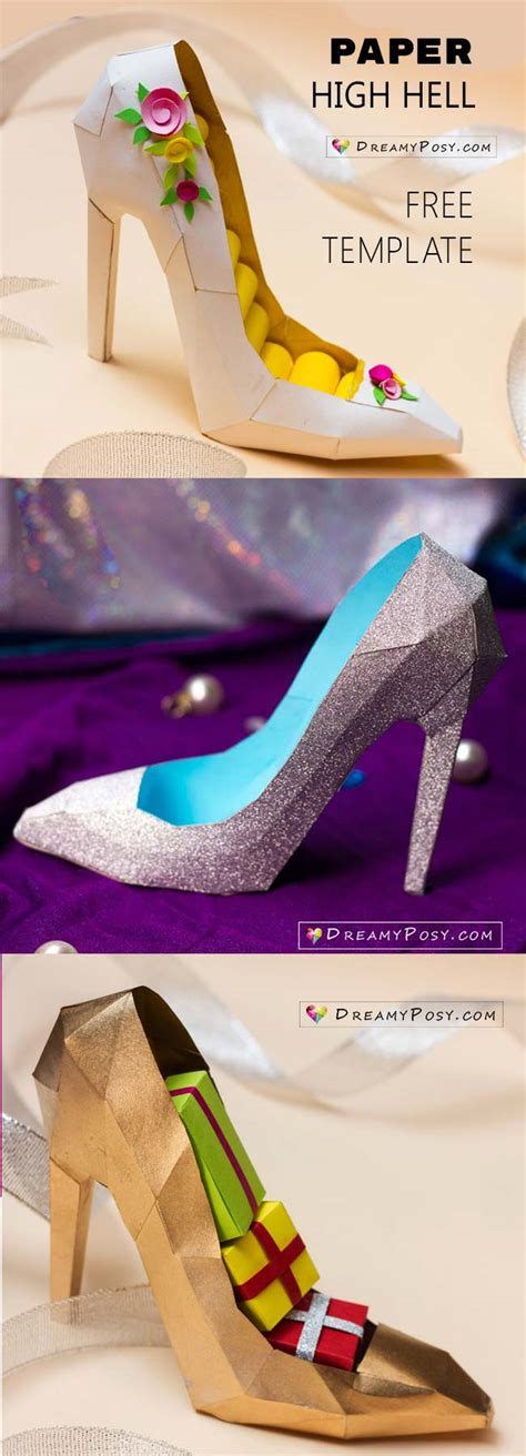 how to make paper shoes templates how to make 3d paper shoe as a gift box free template