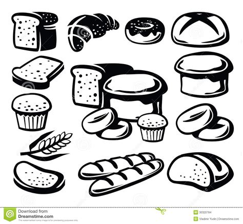 Set Aa Black White bread icon stock images image 30320784