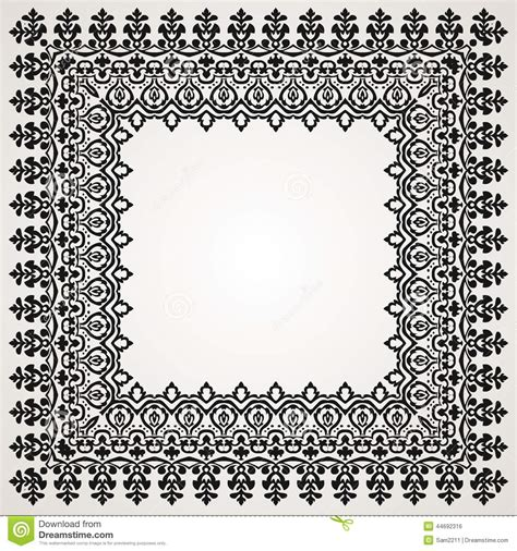 Border With Swirls. Floral Motif Frame Stock Vector