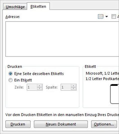 Brief Etiketten Mit Word Drucken by Setupoptionen F 252 R Umschl 228 Ge Und Etiketten