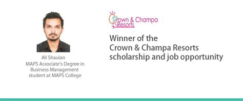 Of Bedfordshire Mba In Hospital Management by Ali Shaulan Wins The Crown Cha Resorts Scholarship