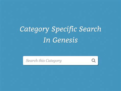 genesis search category specific search on genesis category archives