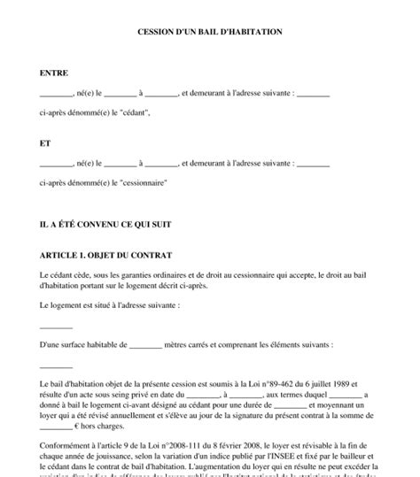 contrat de cession de bail d habitation exemple type