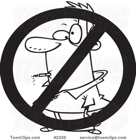 no smoking sign dwg cartoon black and white line drawing of a no smoking sign
